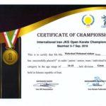 کسب مقام قهرمانی فرزند همکار در مسابقات بینالمللی کاراته